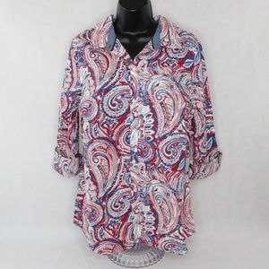 Charter Club Womens Paisley Print Blouse
